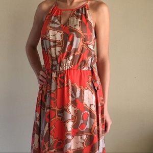 Key Hole Tie Wait Front Summer Print Dress